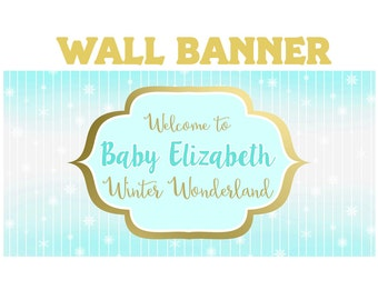 Winter Wonderland Photo Banner ~ Personalized Party Banners ~ Birthday Party Banner, Baby Shower Personalized Banner ~ Vinyl Printed Banner