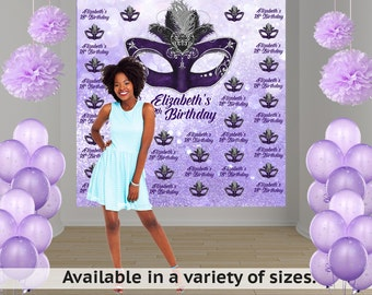 Masquerade Mask Personalized Photo Backdrop - 16th Birthday Photo Backdrop Birthday- Step and Repeat Photo Booth Backdrop