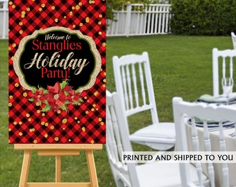 Holiday Party Welcome Sign - Welcome to the Party Sign, Christmas Welcome Sign, Foam Board Welcome Sign, Flannel Printed Welcome Sign