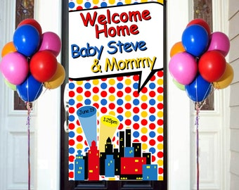 Welcome Home Baby Door Banner, Personalized Baby Boy Party Banner, It's a Boy Welcome Banner, Welcome Home Baby Banner, Super Hero Banner