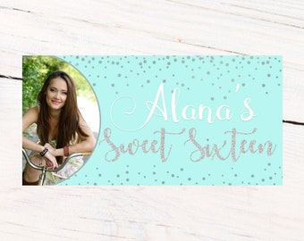 Sweet Sixteen Birthday Banner  ~ Sweet 16 Silver Polka Dots Birthday Personalized Party Banners, Aqua Photo Birthday Banner, Printed Banner