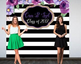 Graduation Personalized Photo Backdrop, Black and White Stripes Photo Backdrop, Birthday Photo Backdrop, Photo Booth Backdrop, Purple Floral