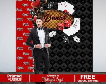 Casino Personalized Photo Backdrop, Casino Step and Repeat Photo Backdrop, 40th Birthday Photo Booth Backdrop, Las Vegas Theme Backdrop