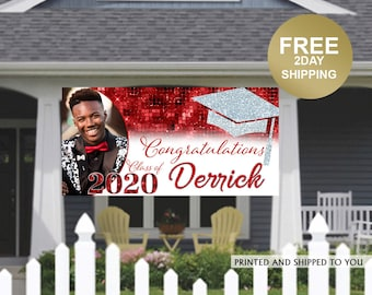 Class of 2020 Graduation Photo Banner ~ Congrats Grad Personalized Party Banners -School Colors Graduation Banner, Graduation Yard Banner