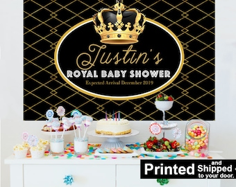Royal Baby Shower Personalized Photo Backdrop, Baby Shower Cake Table Backdrop, Little Prince 1st Birthday, Photo Backdrop, Prince Backdrop