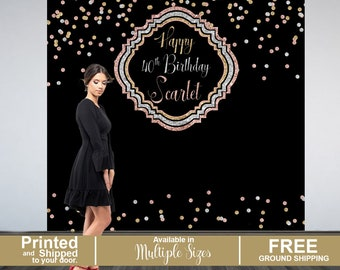 40th Birthday Personalized Photo Backdrop | Birthday Party Photo Backdrop | Rose Gold, Silver and Gold Party Backdrop | Glitter Metallics