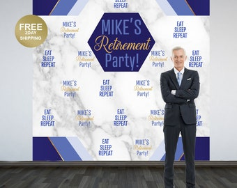 Retirement Party Personalized Photo Backdrop | Eat, Sleep and Repeat Photo Backdrop | Birthday Photo Backdrop | Retirement Backdrop
