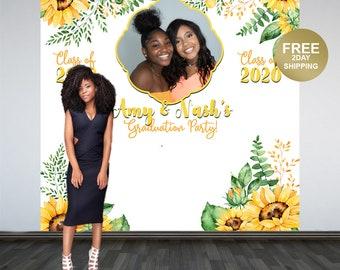 Graduation Photo Backdrop | Personalized Photo Backdrop | Class of 2020 Photo Backdrop | Congrats Grad Photo Backdrop | Sunflower Backdrop
