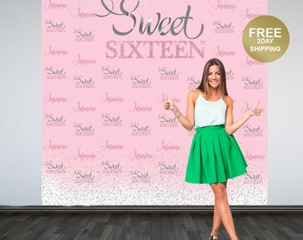 Sweet Sixteen Personalized Photo Backdrop | Pink and Silver Photo Backdrop | 16th Birthday Backdrop | Printed Backdrop |  Birthday Backdrop
