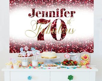 70th Birthday Personalized Photo Backdrop - Birthday Cake Table Backdrop- Fabulous 50th Birthday Backdrop - Ruby Red Party Photo Backdrop