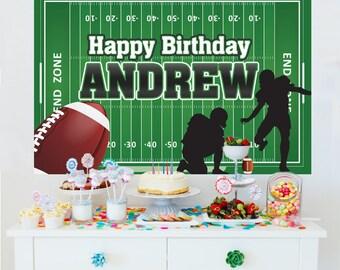 Football Personalized Photo Backdrop, Birthday Cake Table Backdrop, Football Player Party Backdrop, Printed Vinyl Backdrop - Sports Backdrop