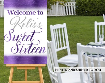 Sweet Sixteen Welcome Sign, Purple Sparkle Sign, Sweet 16 Welcome Sign, Foam Board Welcome Sign, 16th Birthday Printed Welcome Sign - Canvas
