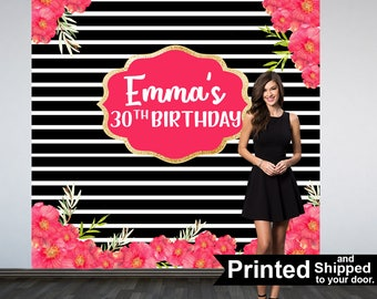 30th Birthday Personalized Photo Backdrop -Black and White Stripes Photo Backdrop- Birthday Photo Backdrop - Printed Photo Booth Backdrop