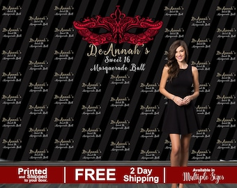 Masquerade Ball Photo Backdrop | Sweet 16 Photo Backdrop | Step and Repeat Photo Backdrop | 16th Birthday Backdrop | Birthday Backdrop