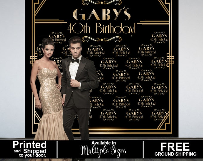 Featured listing image: Great Gatsby Party Personalized Photo Backdrop, Art Deco Step & Repeat Photo Backdrop- Birthday Photo Backdrop, Roaring 20's Photo Backdrop