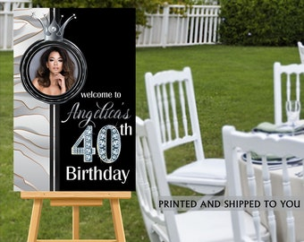 40th Birthday Welcome Sign - Black and Silver Sparkle Party Sign, Welcome to the Party Sign, Foam Board Printed Welcome Sign, Marble Silver
