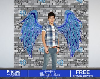 40th Birthday Personalized Photo Backdrop - Angel Wings Art Photo Backdrop - Birthday Backdrop - Printed Photo Backdrop, Graffity Backdrop
