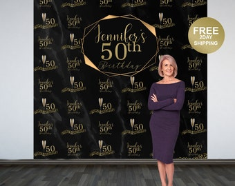 50th Birthday Personalized Photo Backdrop | Gold Party Backdrop | 40th Birthday Photo Backdrop |  Printed Photo Backdrop | Birthday Backdrop