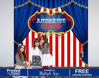 Circus Personalized Photo Backdrop, Carnival Photo Backdrop, Birthday Photo Backdrop, Printed Photo Booth Backdrop, Party Backdrop