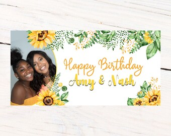 Birthday Banner | Personalized Birthday Banner | Printed Vinyl Banner | Custom Banner | Sunflower Party Banner |  Sweet 16 Banner