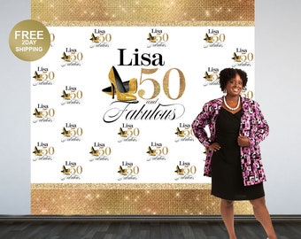 Fabulous 50 Personalized Photo Backdrop | Gold Photo Backdrop | 50th Birthday Photo Backdrop | Printed Photo Booth Backdrop | Heels Backdrop