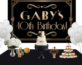 Art Deco Personalized Backdrop - Birthday Cake Table Backdrop -Roaring 20s Backdrop - Custom Backdrop, 40th Birthday Backdrop, Great Gatsby