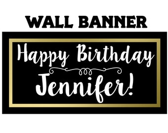 Happy Birthday Personalized Banner ~ Birthday Glam Personalized Party Banners-Gold and Black Custom Photo Banner