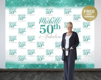 50th Birthday Personalized Photo Backdrop | Aqua 50th Birthday Photo Backdrop | Step & Repeat Photo Backdrop, 50 and Fabulous Photo Backdrop