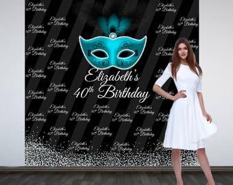 40th Birthday Personalized Photo Backdrop - Masquerade Mask Photo Backdrop- Party Backdrop -Step and Repeat Backdrop - Aqua Mask Birthday