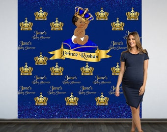 Royal Baby Shower Party Personalized Photo Backdrop - Royal Prince Birthday Photo Backdrop- Step and Repeat Photo Backdrop, Little Prince