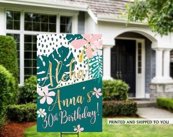 Birthday Yard Sign | AlohaBirthday Sign | Birthday Yard Sign | Tropical Birthday Signs | Birthday Yard Sign, Happy Birthday Lawn Sign