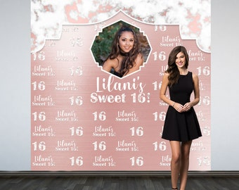 Marble Sweet 16 Personalized Photo Backdrop, Rose Photo Backdrop- 16th Birthday Photo Backdrop, Printed Photo Booth Backdrop, Vinyl Backdrop