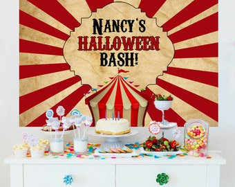 Halloween Personalize Backdrop, Holiday Cake Table Backdrop - Carnival Photo Backdrop, Vintage Carnival Party Backdrop, Printed Backdrop