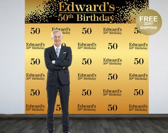 50th Birthday Personalized Photo Backdrop | Gold Photo Backdrop | Birthday Backdrop | Party Backdrop |  Printed Backdrop | 40th Birthday
