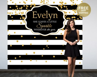Bridal Shower Personalized Photo Backdrop | Black and White Stripes Photo Backdrop | Birthday Photo Backdrop | Printed Photo Booth Backdrop