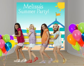 Summer Party Personalized Photo Backdrop -Pool Party Backdrop - Kids Birthday Backdrop - Beach Scene Backdrop- Custom