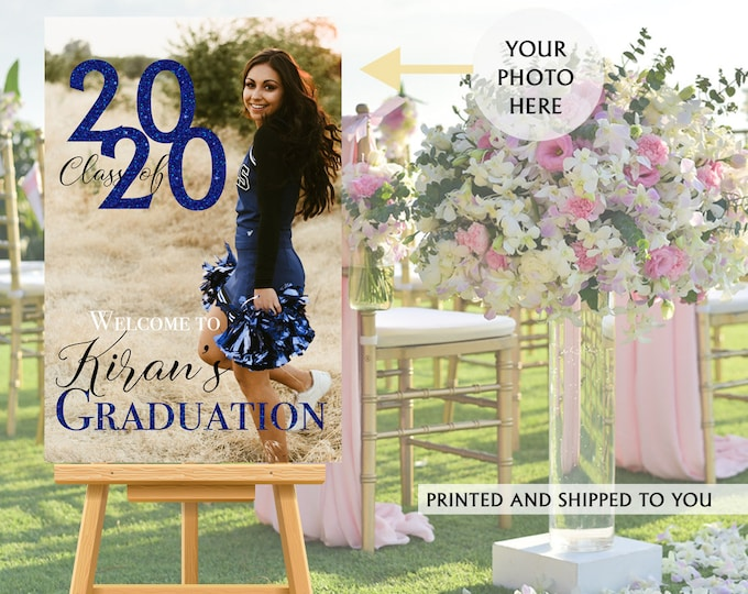Featured listing image: Class of 2020 Graduation Photo Welcome Sign - Grad Party Welcome Sign - Welcome Sign Congrats, Foam Board Sign, Graduation Canvas Party Sign