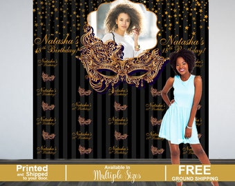 Gold Masquearde Personalized Photo Backdrop - Masquerade Mask Photo Backdrop- Party Backdrop -Step and Repeat Backdrop - 18th Birthday