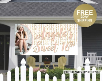 Sweet 16th Birthday Banner | Birthday Yard Banner | 16th Birthday Banner | Photo Banner | Indoor or Outdoor Birthday Banner | Lawn Banner
