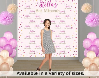 Birthday Confetti Party Personalized Photo Backdrop - Bat Mitzvah Photo Backdrop - 13th Birthday Photo Backdrop, Printed Photo Backdrop