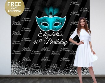 40th Birthday Personalized Photo Backdrop | Masquerade Mask Photo Backdrop | Party Backdrop | Step and Repeat Backdrop | Aqua Mask Birthday