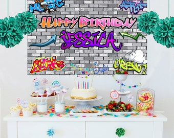 Hip Hop Personalized Backdrop - Graffiti Photo Backdrop -Birthday Backdrop- 90's Birthday Backdrop - Custom Backdrop, Printed Backdrop