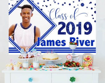 Graduation Blue Sparkle Photo Personalized Backdrop, Congrats Grad Cake Table Backdrop - Class of 2019 Photo Backdrop, Graduation Backdrop