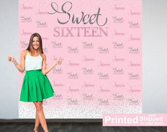 Sweet Sixteen Personalized Photo Backdrop -Pink and Silver Photo Backdrop- 16th Birthday Photo Backdrop - Printed Photo Booth Backdrop