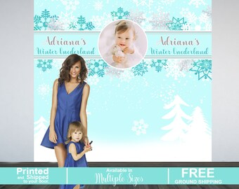 Winter Wonderland Personalized Photo Backdrop | Snow Flakes Party Photo Backdrop | Baby it's Cold Outside Party Photo Backdrop | Printed