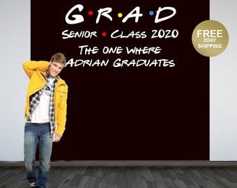 Graduation Photo Backdrop | Personalized Photo Backdrop | Class of 2020 Photo Backdrop | Congrats Grad Photo Backdrop | Friends Backdrop