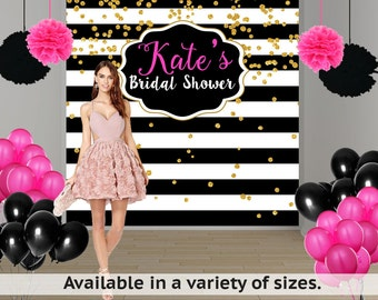 Bridal Shower Personalized Photo Backdrop, Black and White Stripes Photo Backdrop- 30th Birthday Photo Backdrop, Custom Photo Booth Backdrop