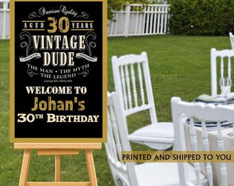 Vintage Dude Welcome Sign - 30th Birthday Party Sign - Welcome Sign 40th Birthday, Foam Board Sign, Welcome to the Party Sign, 50th Birthday