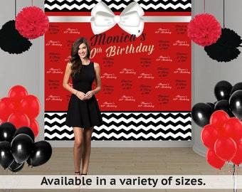 Fabulous & Flirty Birthday Personalized Photo Backdrop, 40th Birthday Photo Backdrop- Red and Black Photo Backdrop, Step and Repeat Backdrop
