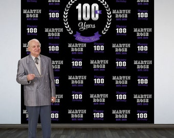 100 Celebration Personalize Photo Backdrop - Birthday Milestone Photo Backdrop- Anniversary Large Photo Backdrop, Business Celebration